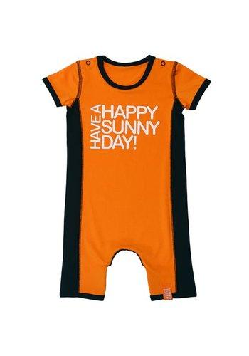 HappySunnyDays UV protective baby romper in orange