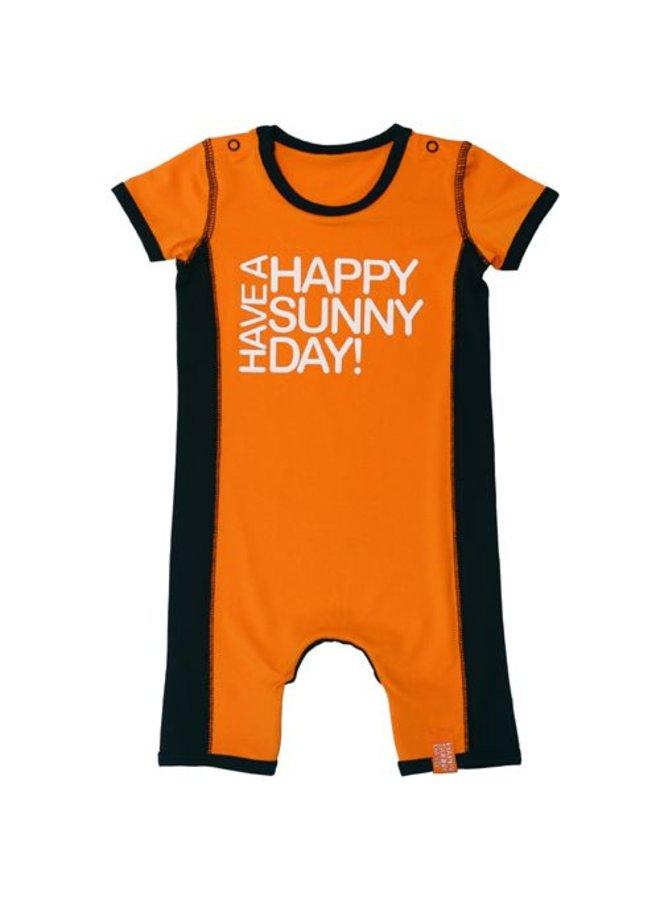 UV protective baby romper in orange
