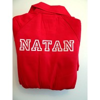 thumb-Red overalls with name or text printing-1