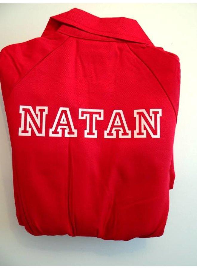 Rode overall met naam of tekst bedrukking