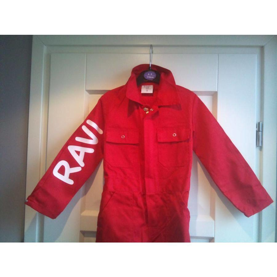 Rode overall met naam of tekst bedrukking-2