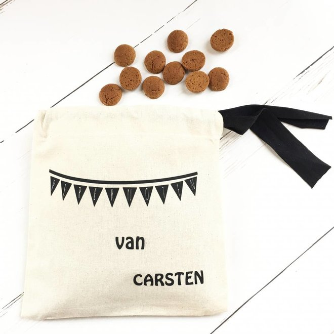 Cotton gingerbread bag with name and flag line