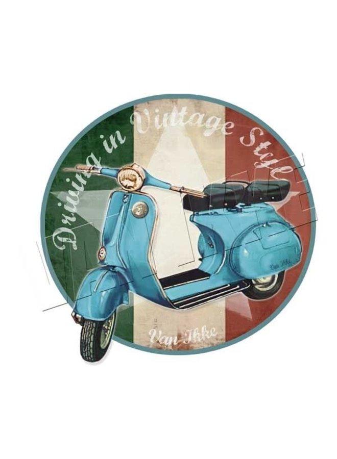 Strijkapplicatie retro scooter