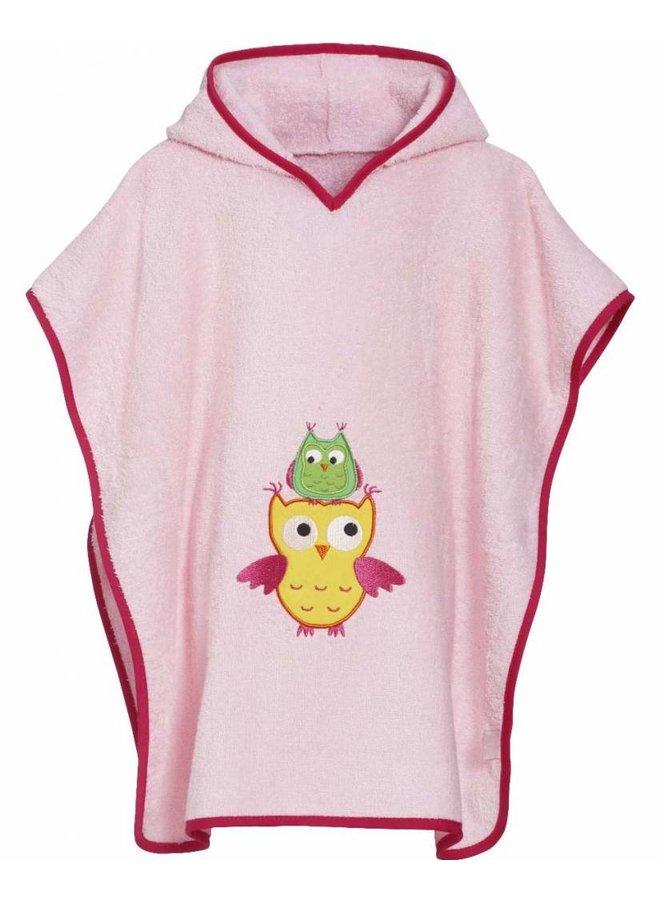 Pink beach poncho, bath poncho - Owl
