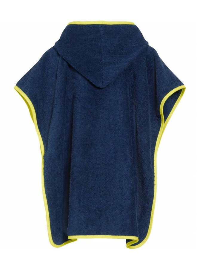 Blauwe badcape, strand poncho met capuchon - Brandweer