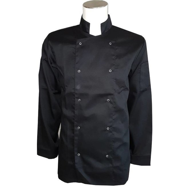 Koksbuis, koksjasje in zwart of wit met drukknopen