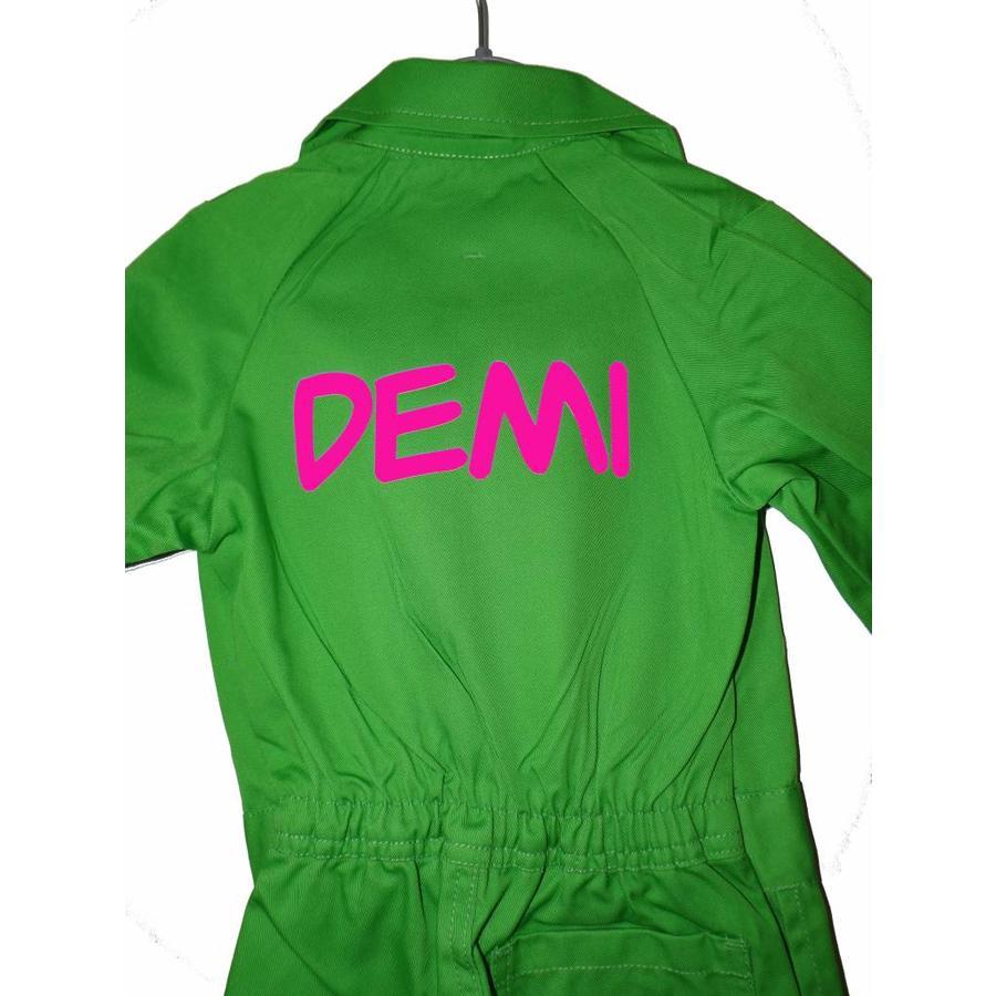 Tekstbedrukking voor overall in neon kleuren-2