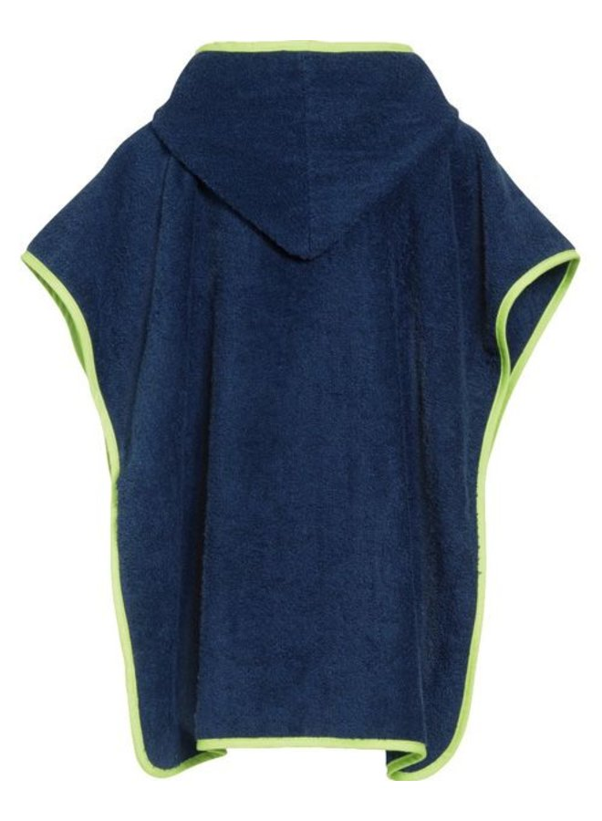 Blue bath cape, beach poncho with hood - submarine