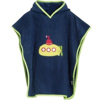 thumb-Blue bath cape, beach poncho with hood - submarine-1