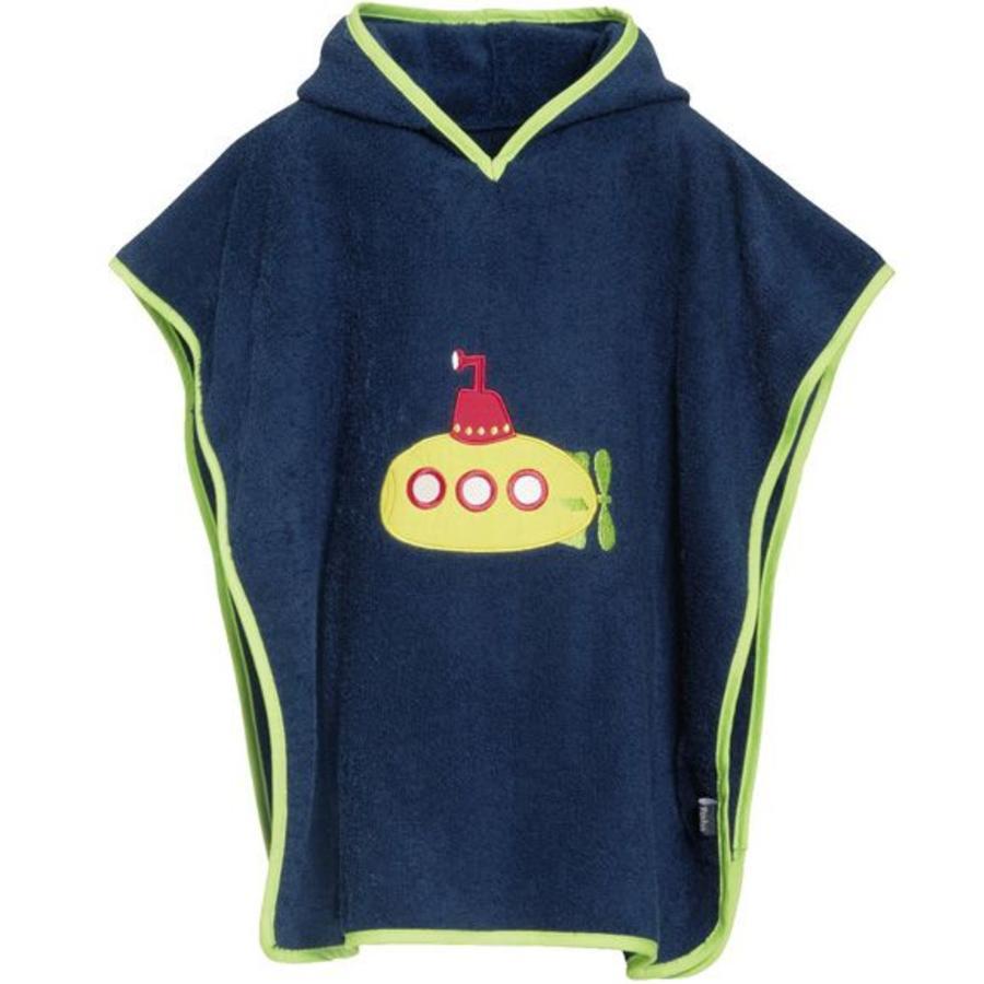 Blue bath cape, beach poncho with hood - submarine-1