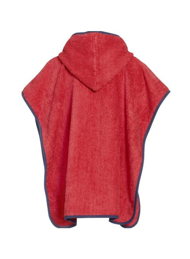 Red children's bath cape, beach poncho with hood - Diver
