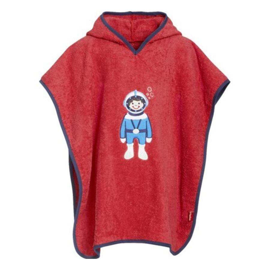 Red children's bath cape, beach poncho with hood - Diver-1
