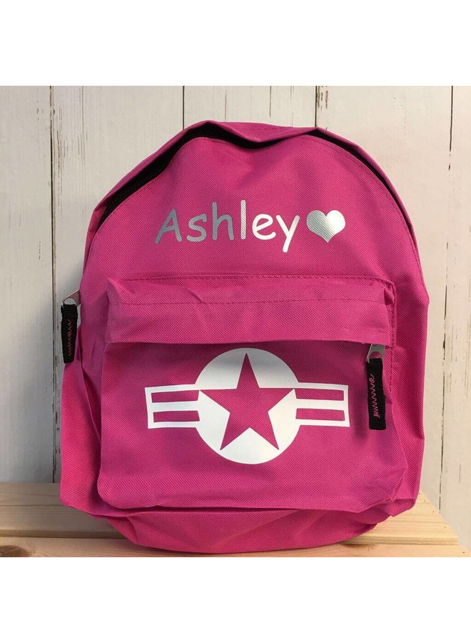 Backpack with name print and stars & stripes