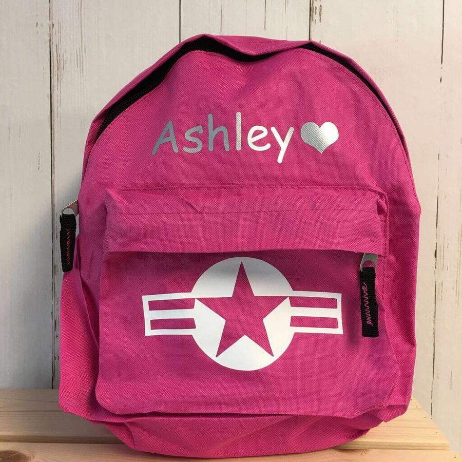 Backpack with name print and stars & stripes-1