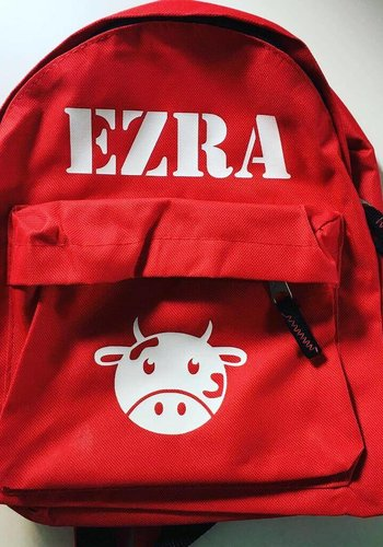 Personalized backpack with a cow