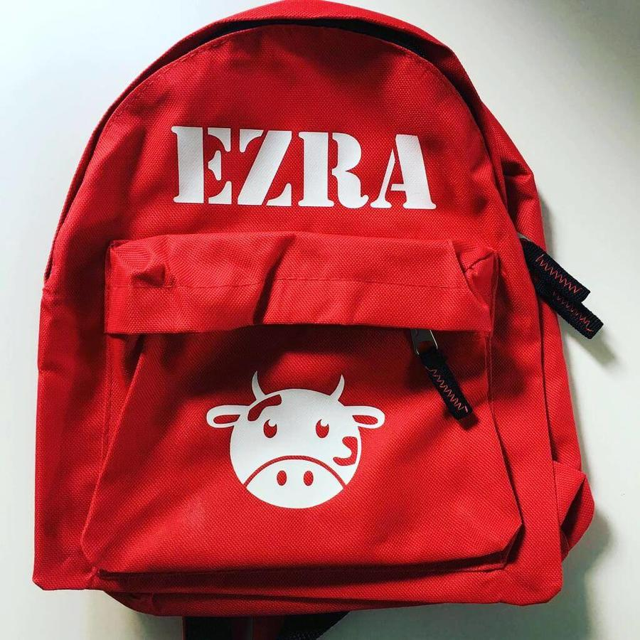 Backpack with name and a cow-1
