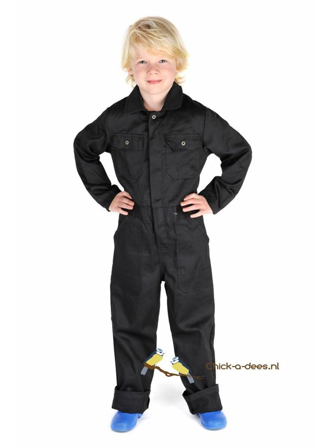 Black overalls with name or text printing