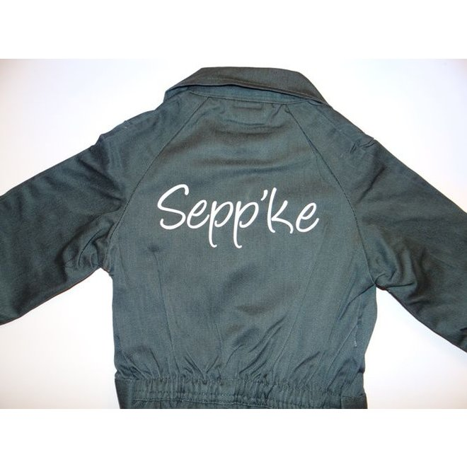 Dark green coverall with name or text print