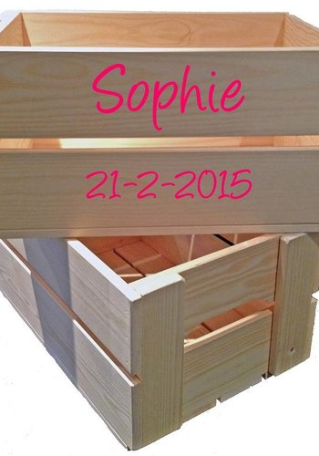Toy crate, chest with name and extra line of text