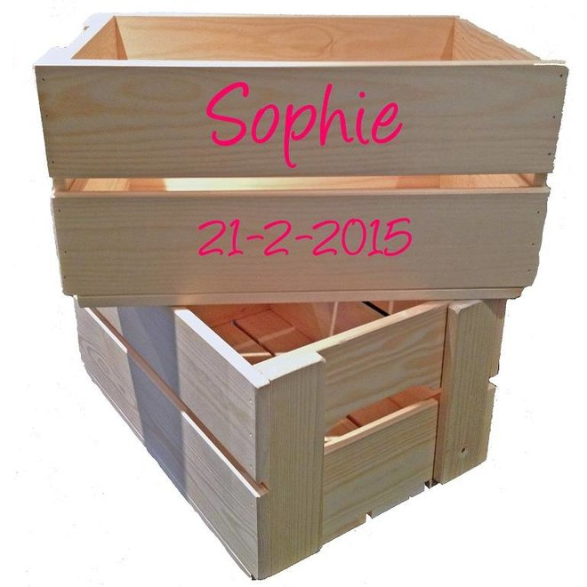 Toy crate, box with name and additional tile text