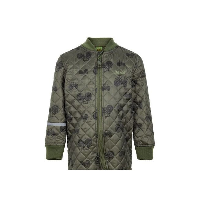 Quilted thermal coverall with tractor in green| 80-104