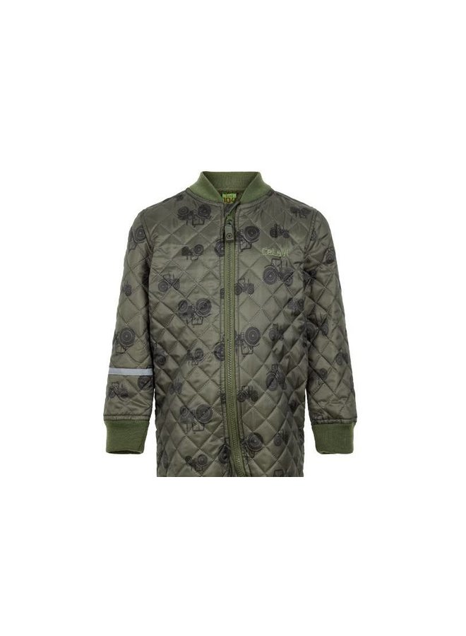 Quilted thermal coverall with tractor in green  80-104