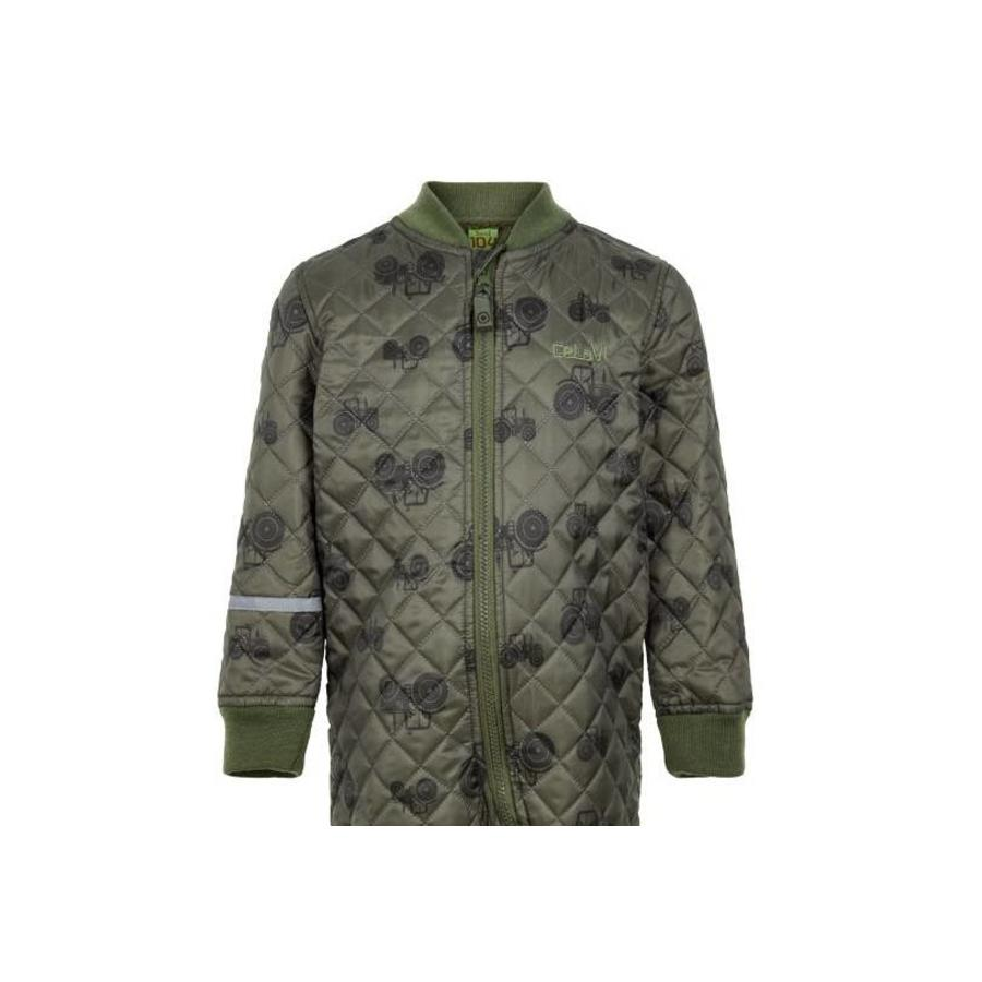 Quilted thermal coverall with tractor in green| 80-104-2