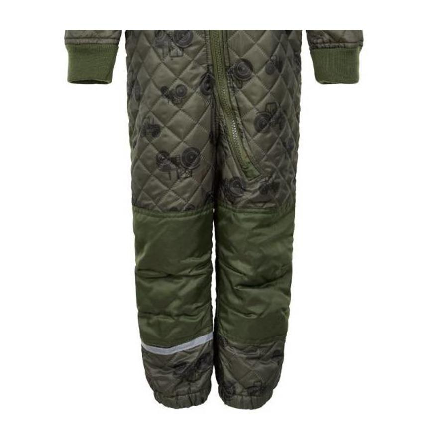Quilted thermal coverall with tractor in green| 80-104-3