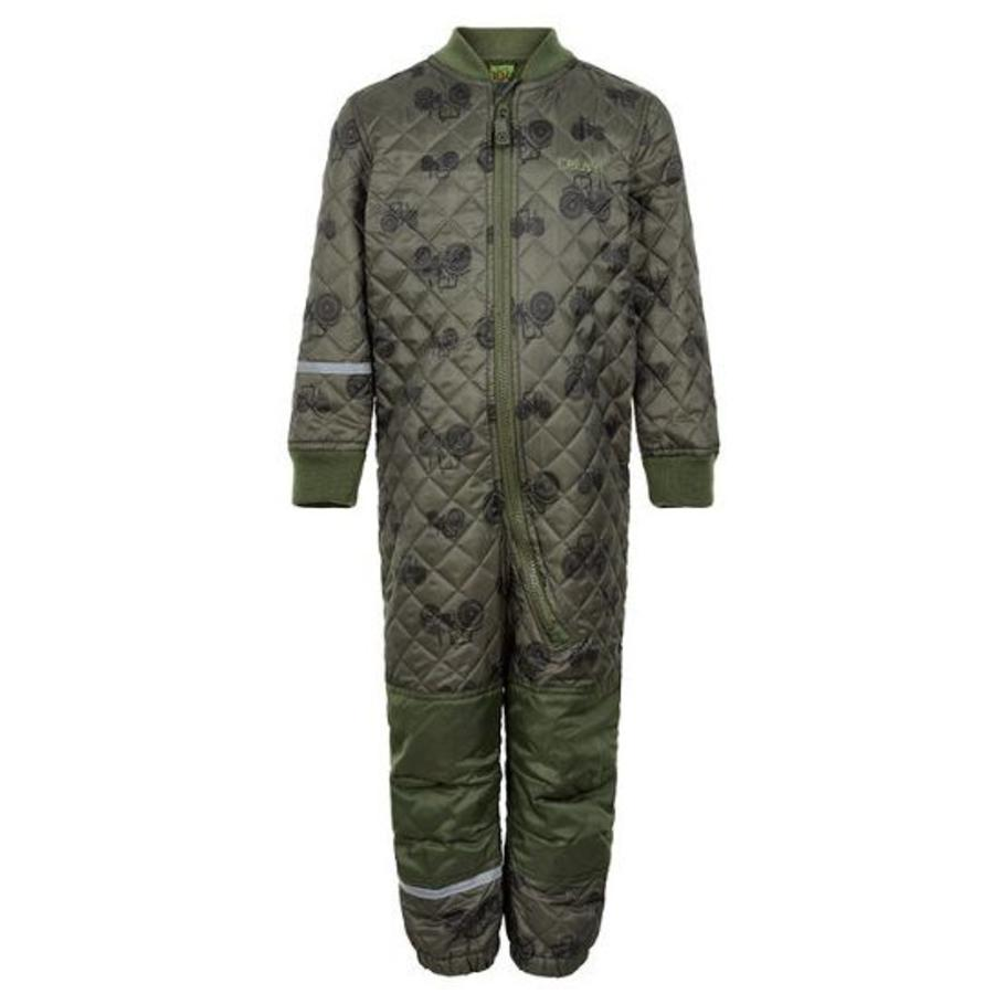 Quilted thermal coverall with tractor in green| 80-104-4