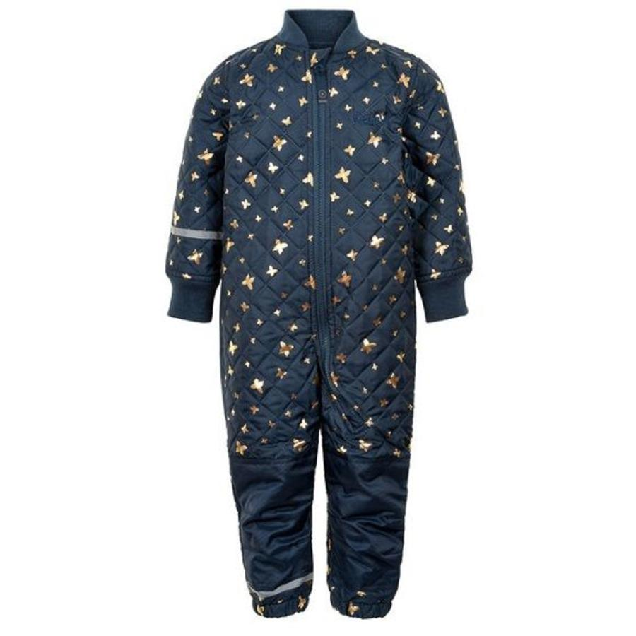 Quilted blue thermo overall with butterflies| 80-104-1