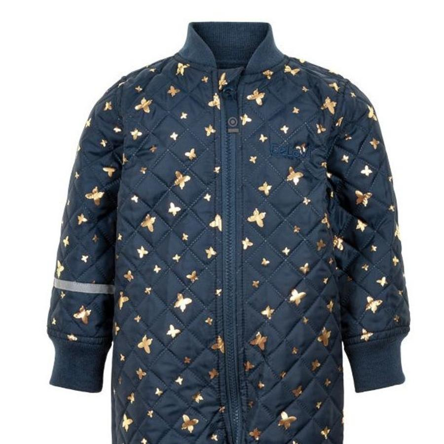 Quilted blue thermo overall with butterflies| 80-104-2
