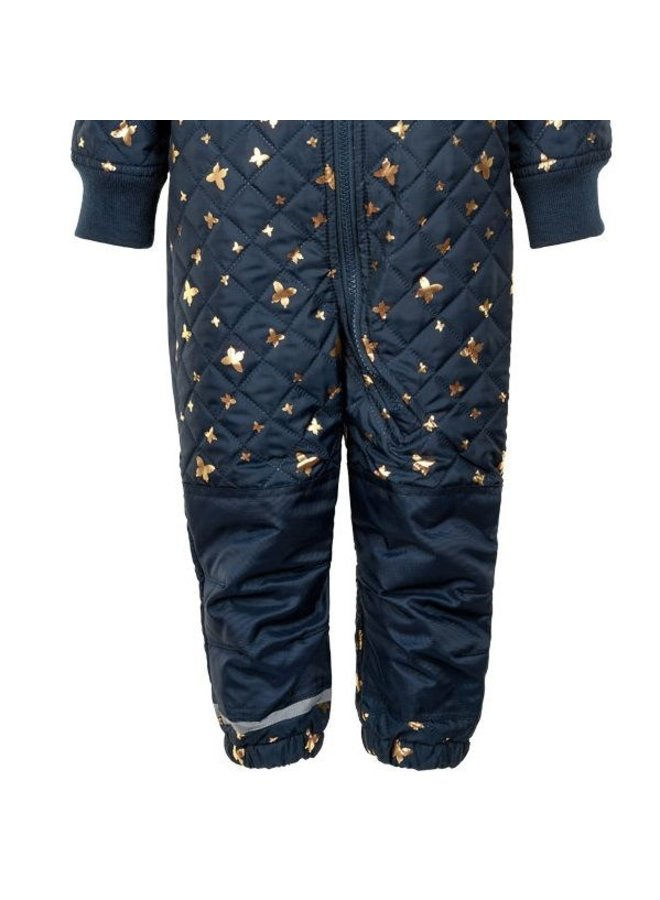 Quilted blue thermo overall with butterflies| 80-104