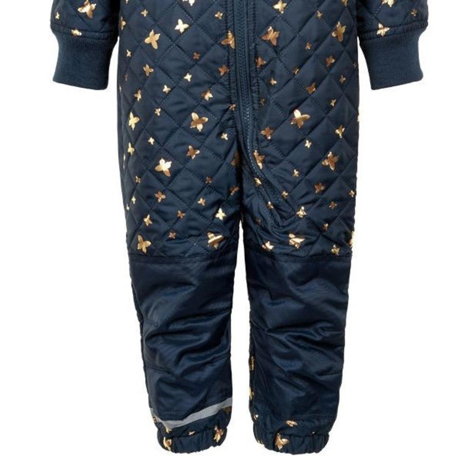 Quilted blue thermo overall with butterflies| 80-104-3