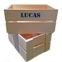 thumb-Maternity gift: crate with name, overall and clogs in blue-5