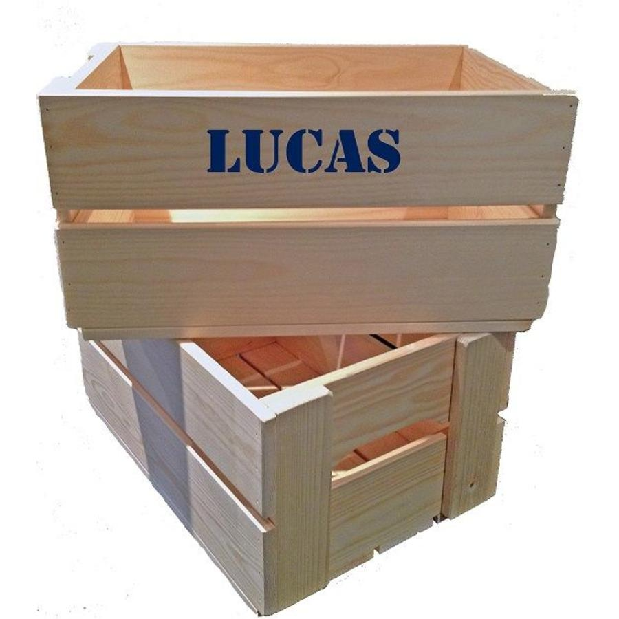 Maternity gift: crate with name, overall and clogs in blue-5