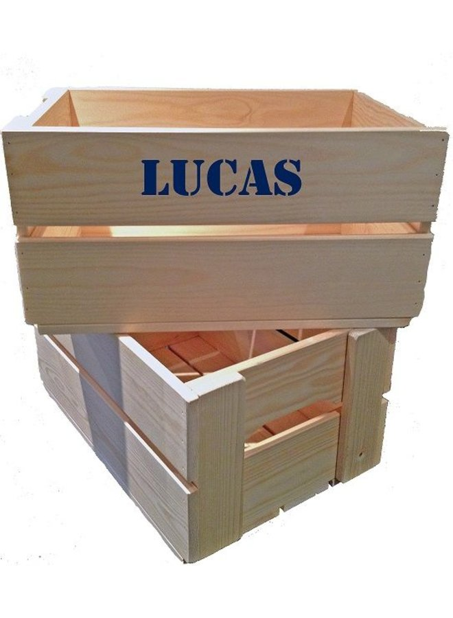 Maternity gift: crate with name, children's overall and clogs in pink