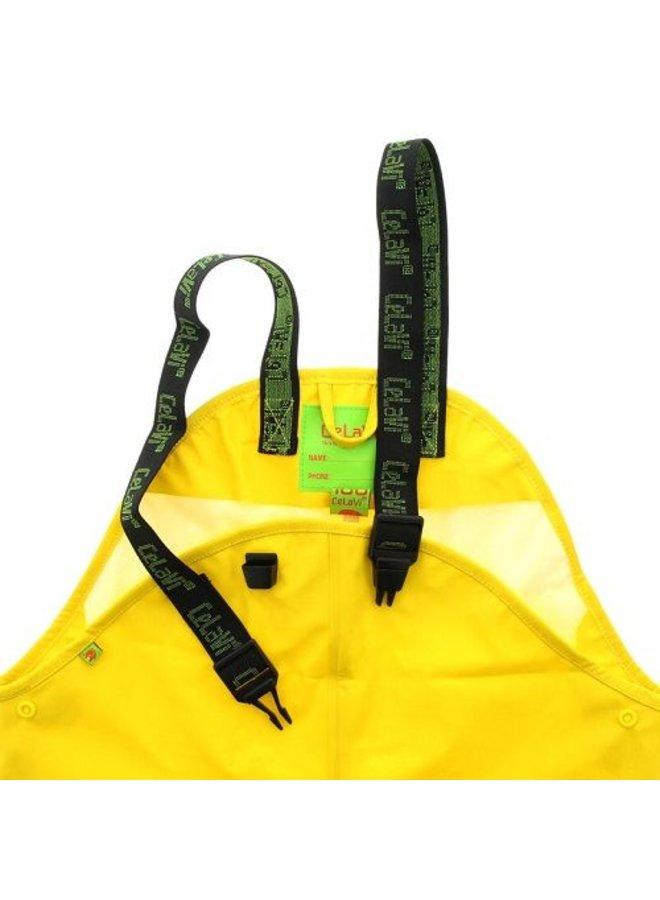 Gele kinderregenbroek met bretels   70-100