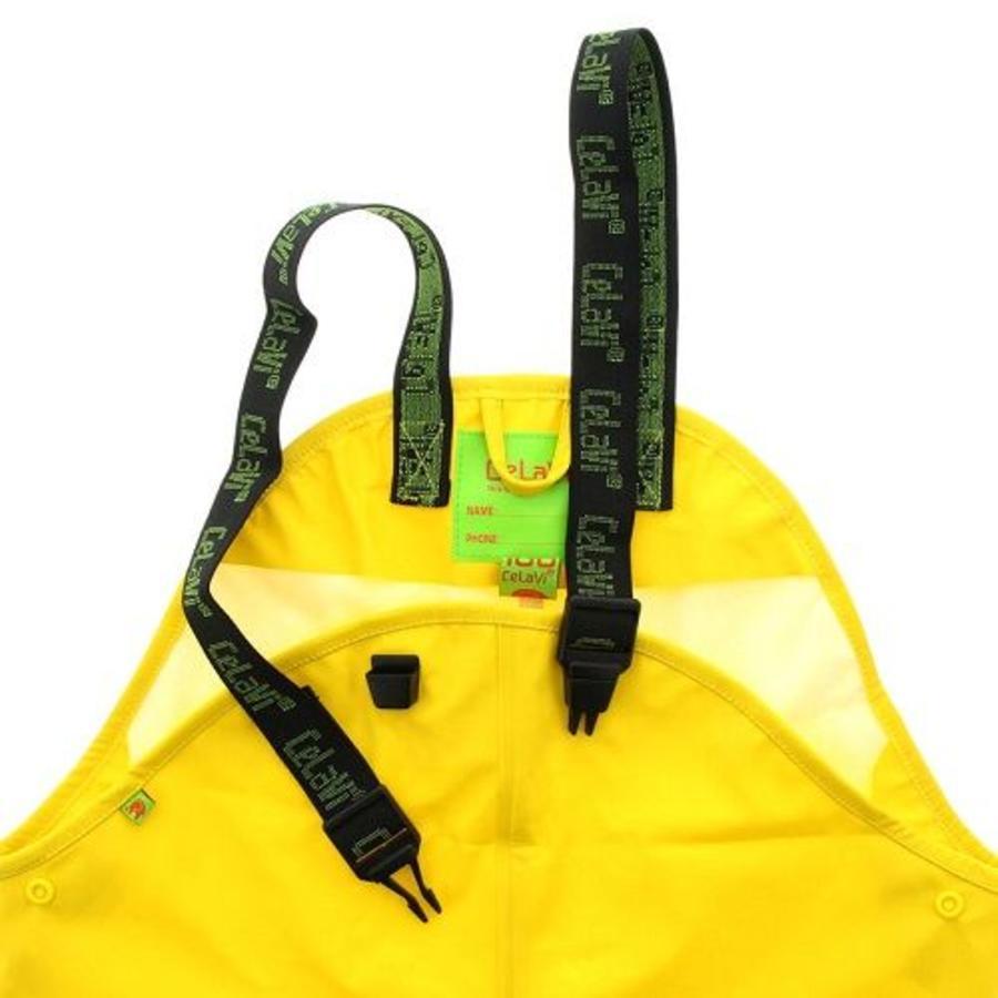 Gele kinderregenbroek met bretels   70-100-2