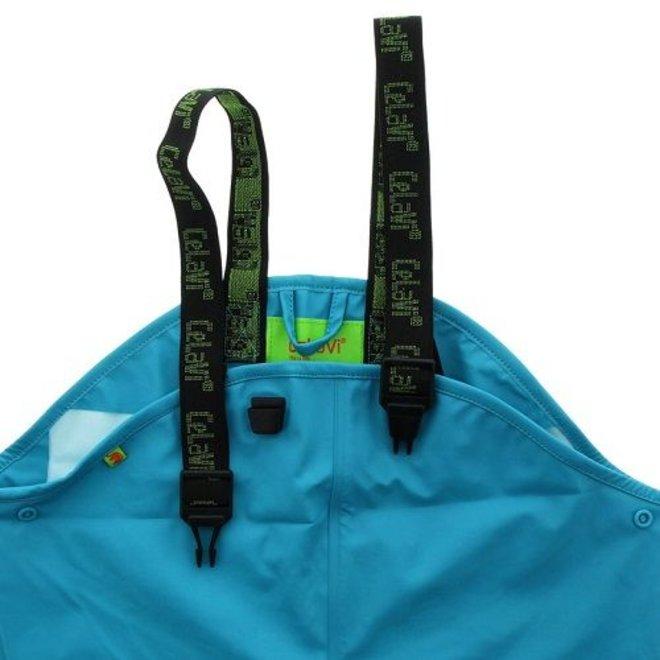 Rain pants, waterproof dungarees ocean blue