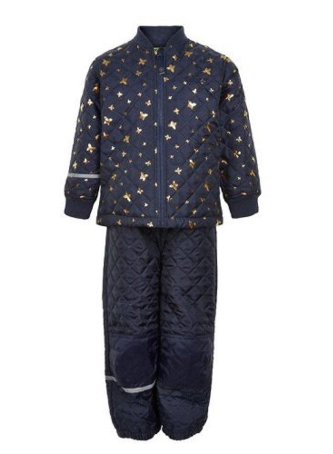 Gewatteerd thermo set jasje en broek met vlinders| 110-128