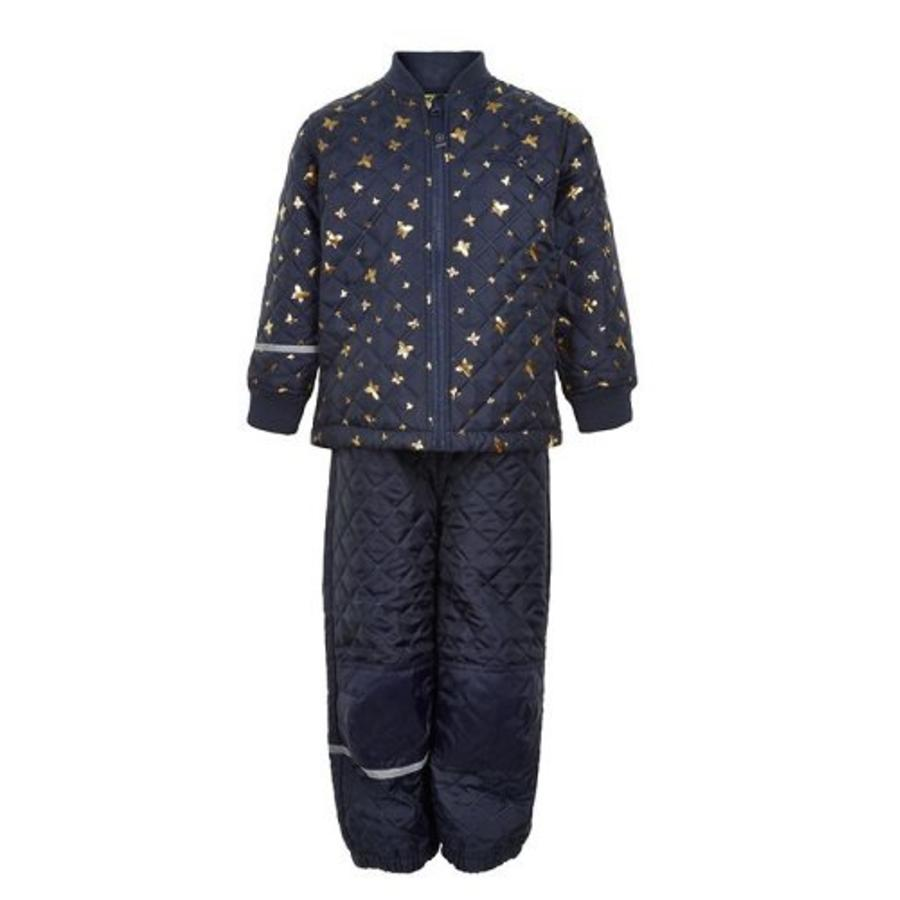 Quilted thermo set jacket and pants with butterflies| 110-128-2