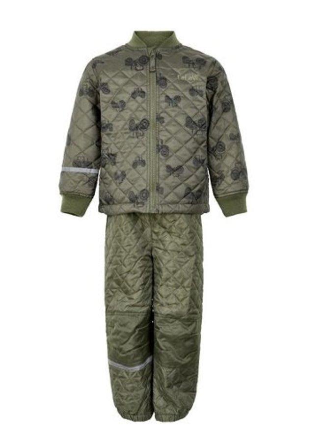 Gewatteerd thermo set jasje en broek met tractor print| 110-128