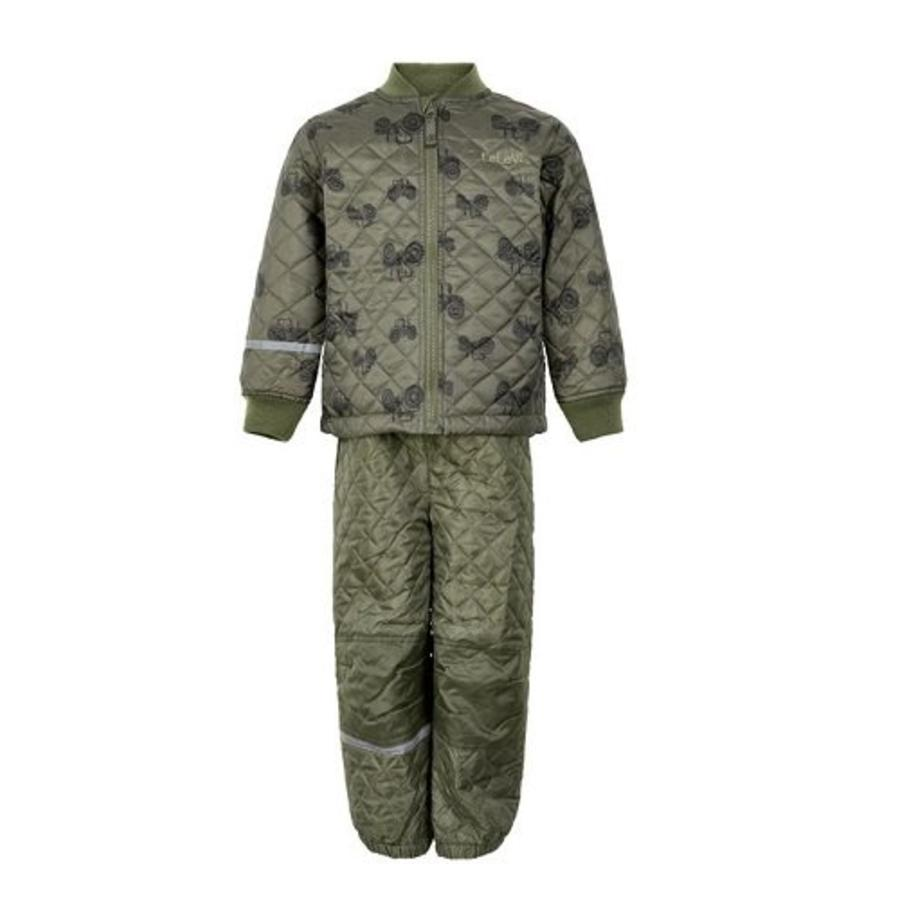 Quilted thermo set jacket and pants with tractor print| 110-128-1