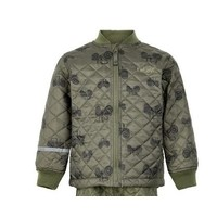 thumb-Quilted thermo set jacket and pants with tractor print| 110-128-2