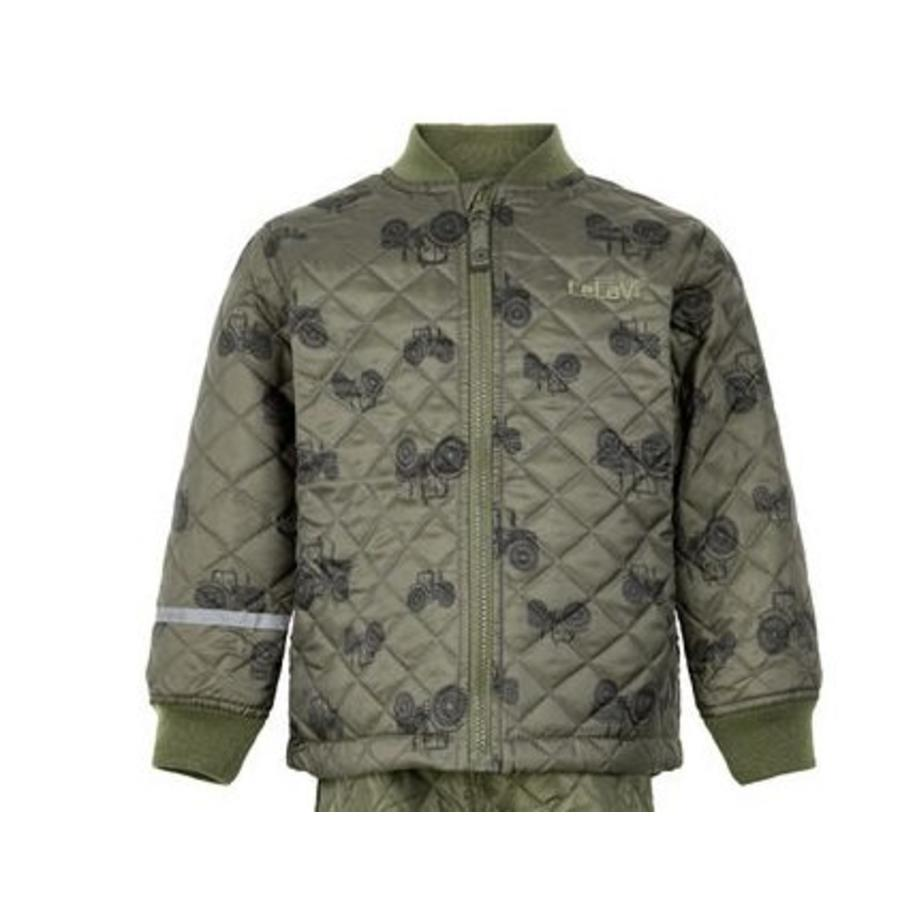 Quilted thermo set jacket and pants with tractor print| 110-128-2