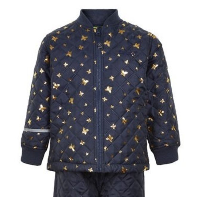 Quilted thermo set jacket and pants with butterflies| 110-128