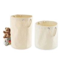 thumb-Canvas toy basket with sturdy handles-4