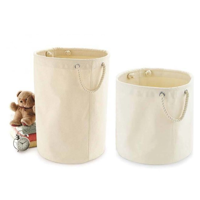 Canvas toy basket with sturdy handles