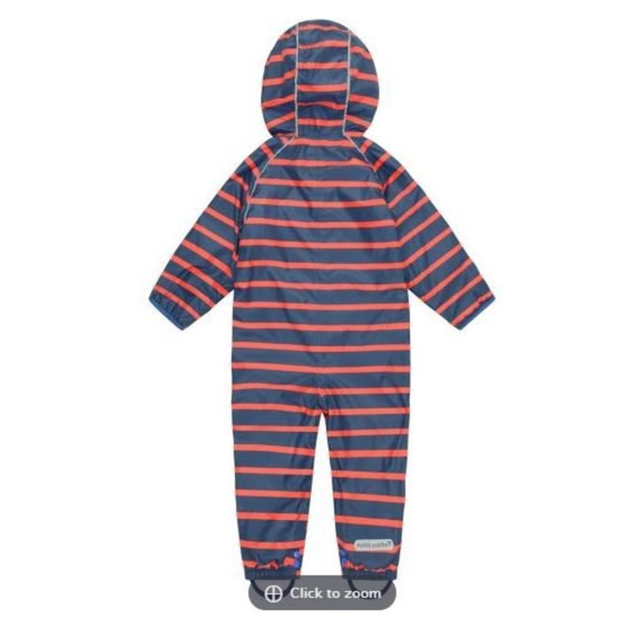 Lined, durable rain suit ECOSPLASH, in red with blue stripes-5
