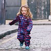 EcoSplash lined durable rain suit in red with blue stripes